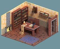 rendu 3D magicavoxel voxels bureau fantastique jour