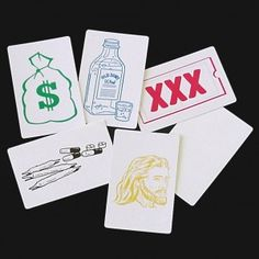Make The Right Choice. Performer shows six blank cards and lays them out on the table. Spectator selects one of them. Performer then turns each card over, showing that pictures have mysteriously appeared on the reverse sides. Five cards are bad choices, but the spectators choice is the right choice — JESUS!