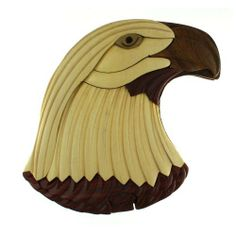"""Eagle - Wooden Puzzle Box - Handcrafted with Hidden Compartment by Handcrafted. $25.65. Wood Intarsia. Natural Finish Wood. 4.5"""" x 4"""" x 2.25"""". These beautiful puzzle boxes are handmade in Vietnam.  The lids of the boxes are naturally finished wood intarsia, where the eagle head design comes from inlaid sections of different kinds of wood.  Each box opens when you remove a puzzle piece and slide off the lid to reveal a small inner compartment.    4.5"""" x 4"""" x 2.25"""""""