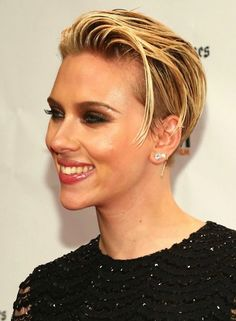Scarlett Johansson Short Blonde Slick Back 'Do | Short haircut, short hairstyles for women, short hair, blonde, pixie, cropped, short cut