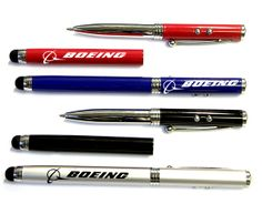 Twist action pen with laser pointer / LED and stylus -- 4 in 1 ballpoint pen with LED flashlight, laser pointer and soft touch stylus. Solid metal construction with metallic finish. Great for home, office, iPhone, iTouch, iPad and other smartphone. Is a great corporate gift.