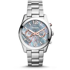 Fossil Perfect Boyfriend Multifunction Stainless Steel Watch (8.870 RUB) ❤ liked on Polyvore featuring jewelry, watches, stainless steel jewellery, rose watches, grey jewelry, sparkle jewelry and fossil jewellery