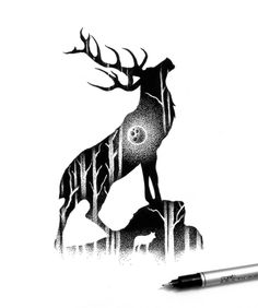 Beautiful Double Exposure Illustrations Made Using Thousands Of Tiny Dots - UltraLinx