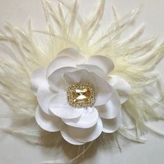 Wedding White Flower Feather Fascinator. Boutique Custom Designs by Fancy Girl