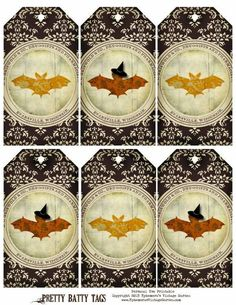 Here's a Halloween freebie. Who knew bats could be so shabby, chic and cute? Free for Personal Use Enj. Halloween Fonts, Halloween Labels, Holidays Halloween, Halloween Crafts, Halloween Witches, Halloween Ideas, Halloween Costumes, Vintage Tags, Vintage Ephemera