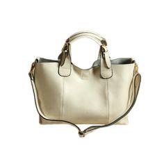 Versatile solid Double Handle Hasp Real Leather Designer Handbags