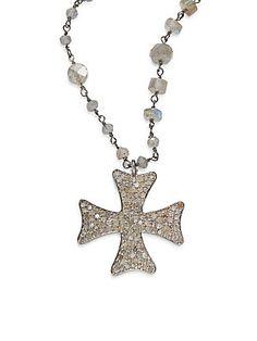 Bavna Diamond, Labradorite & Sterling Silver Maltese Cross Necklace Maltese Cross, Labradorite, Sterling Silver, Diamond, Jewelry, Jewlery, Bijoux, Jewerly, Diamonds