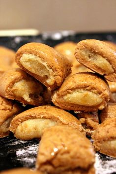 Swiss delicacy with a kind of ginger bread dough and a delicious almond paste filling, they call them Biberli!