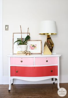 DIY Painted Dresser // Real Men Paint Dressers Pink #ombre #painted