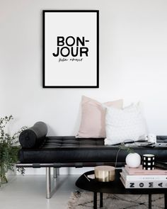Bonjour Mon Amour French Typography Art Print - Minimal Home - Black and White Decor - Hello My Love Quote Print