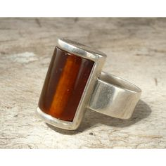 sterling silver handmade amber ring (€82) ❤ liked on Polyvore featuring jewelry, rings, sterling silver amber jewelry, amber ring, amber jewellery, beaded jewelry and beaded rings