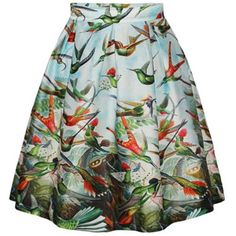 Chicnova Fashion Vintage Lark Printed Flared Skirt ($13) ❤ liked on Polyvore featuring skirts, circle skirt, green skirt, green pleated skirt, green skater skirt and flared skirt