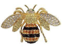 Honey Bee Brooch with SWAROVSKI Crystals - CQ12JXW7267 - Brooches & Pins  #jewellrix #Brooches #Pins #jewelry #fashionstyle