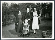 Bodleian Libraries | Barbara Pym and the Bodleian: Pym (in front) and three fellow Oxford undergraduates.  She studied English from 1931 to 1934.