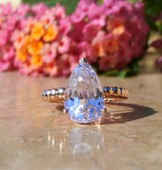 Rose Gold Engagement Ring Kunzite Engagement Ring in 14kt Gold by AleaMariCo