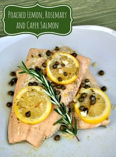 Making dinner from frozen seafood is convenient for busy nights! Give it a try with this easy recipe for poached salmon with lemon, rosemary and capers. #FrozenToFork #ad