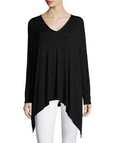 Fugi V-Neck Knit Shirt, Black - Josie Natori