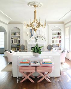 Interior design by Kyle Knight Design, pink in living room