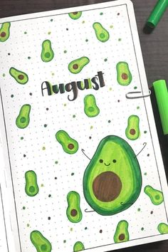This monthly cover is tooooo cute! 🥑🥑 #bujoideas
