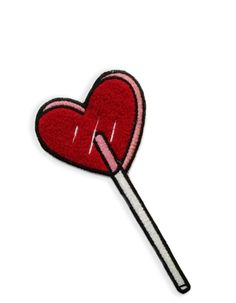 """Super ultra plush Heart Lolli chenille patch made from my original illustration. Perfect for an accent on your lapel, backpack, or blouse. Approx 6"""" x 3"""", high-pile chenille with iron on backing."""
