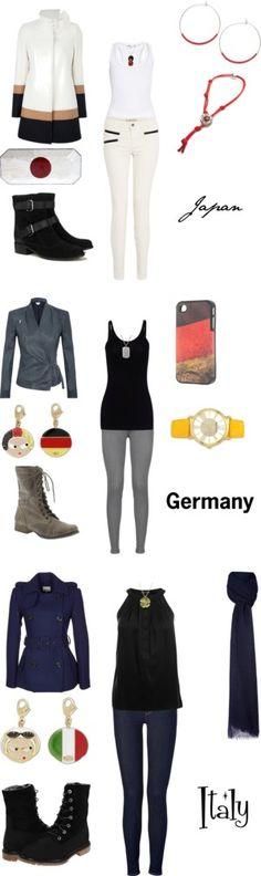 """""""Axis Powers Official Uniforms"""" by winterlake25 on Polyvore"""