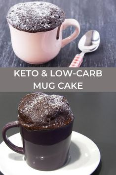 When this chocolate craving hits, I don't want to get out 12 ingredients and wait 40 minutes for a keto cake to bake. I want something fast and delicious and NOW! Easy Mug Cake, Cake Mug, Keto Mug Cake, Keto Chocolate Mug Cake, Chocolate Mug Cakes, Low Carb Mug Cakes, Low Carb Desserts, Coconut Flour Recipes Low Carb, Recettes Anti-candida