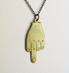 Give 'em the Finger Necklace  Vintage  FREE by MissAtomicShop