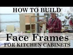 It's easier than you'd think to build your own kitchen cabinets. Using just a few tools, this video shows you how to build face frames and attach to kitchen . Building Kitchen Cabinets, Diy Kitchen Cabinets, Built In Cabinets, Base Cabinets, Kitchen Cabinet Drawers, Cabinet Plans, Sand Projects, Diy Projects, Face Frame Cabinets