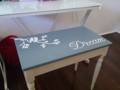 A little bird art and inspirational words for the theme of this painted piano bench Painted Pianos, Hand Painted Chairs, Piano Stool, Piano Bench, Chalk Paint Furniture, Cool Furniture, Piano Crafts, Piano Restoration, Diy Bench