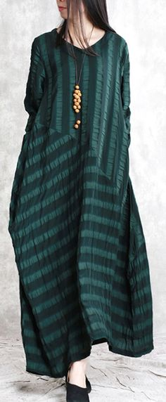 Elegant blackish green natural linen dress  plus size clothing patchwork traveling clothing linen caftans