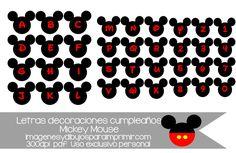 Letras y números de mickey mouse para personalizar los banderines de cumpleaños, para hacer su nombre.  #mickeymouse #free #printables