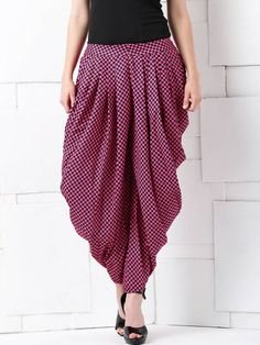 Masaba for Anouk Pink & Black Checked Dhoti Pants