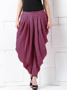 Masaba for Anouk Pink & Black Checked Dhoti Pants