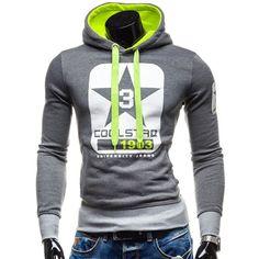15.16$  Watch now - http://die95.justgood.pw/go.php?t=146438405 - Trendy Slimming Hooded Color Block Letters Star Print Applique Design Men's Long Sleeves Hoodie