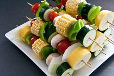 Veggie kabobs. Duh! I have NEVER thought of slicing corn on the cob!