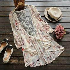 Cupshe Floral to Ceiling Chiffon Hollow Cardigan