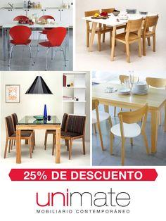 En Octubre: #mesas y #sillas para tu comedor con 25% de descuento en efectivo. Mirálas en www.unimate.com.ar  #Unimate