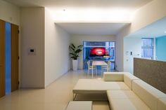View from the living room of car-lift garage. project name: case study house location: kurakuen niban-cho hyogo japan architect: kenji yanagawa #livingroom