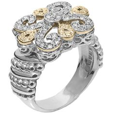 Ring in Gold and Sterling Silver with Diamond - Vahan Fleur de Lys - Vahan Jewelry Sterling Silver Diamond Rings, Silver Diamonds, Stone Jewelry, Diamond Jewelry, Gold Jewelry, Jewelry Box, Diamond Wedding Bands, Diamond Engagement Rings, Diamond Sale