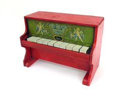 C1900 Cass Toys Miniature Wooden Toy Piano, Lovely Period Graphics, Works