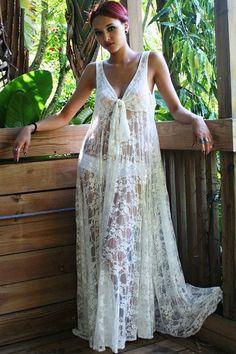 Tenue Plage Sexy Honeymoon Blanc Lace Maxi Robe – Modebuy.com