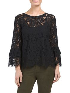 Dramatic Bell Sleeve Lace Top Tj Maxx, Bell Sleeves, Stylish, Lace, Fashion Design, Shopping, Women, Racing, Woman