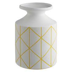 GRID Yellow and white patterned ceramic bottle vase | Buy now at Habitat UK