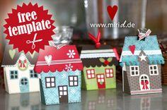 A cute little festive village gift box. Template available as Silhouette Studio file and PDF. / Ein wunderbares Geschenkschachtel-Weihnachtsdorf. Vorlagen für die Silhouette und als PDF.