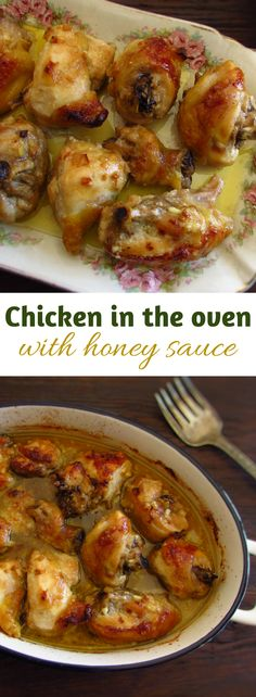 Chicken in the oven with honey sauce | Food From Portugal. Prepare this delicious chicken recipe in the oven drizzled with a delicious honey, mayonnaise and olive oil mixture! It's the perfect recipe for a family Sunday lunch! Bon appetit!!! #recipe #chicken #oven #honey #chickenfoodrecipes