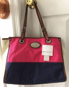cc87b41b2a46f Liz Claiborne Pink Navy Blue Colorblock Beach Tote Shopper Purse Handbag  NWT  LizClaiborne  TotesShoppers