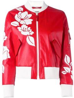 Fendi куртка-бомбер с цветочным принтом