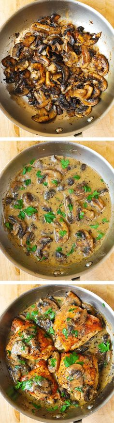 Chicken and Mushrooms with a Creamy Herb Sauce by bhg:  Moist and tender chicken thighs with crispy skin. #Chicken #Mushrooms #Shoofly #PinotNoir