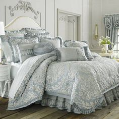 Luxury Bedding Sets For Less Blue Comforter, King Comforter Sets, Grey Bedding, Damask Bedding, Luxury Bedding Collections, Luxury Bedding Sets, Beautiful Bedrooms, Bed Spreads, Bedroom Decor
