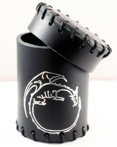 Dice Cup (Dragon, Black) | Black Leather Dice Cup With Silver Dragon